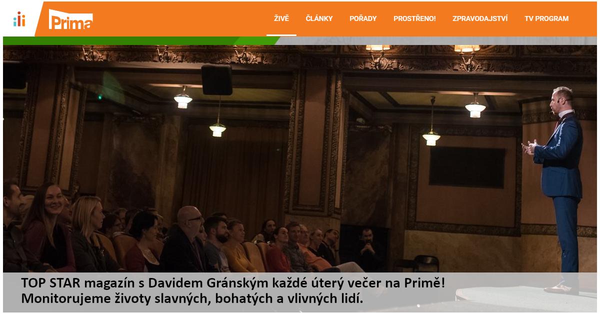 PRIMA TV: TOP STAR magazín – Hypnotizér v pražské Lucerně