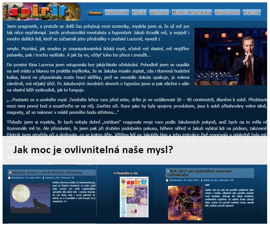 Hypnotizer Jakub Kroulik_rozhovor Tydenik SPIRIT - Jak ovlivnitelna je myse mysl
