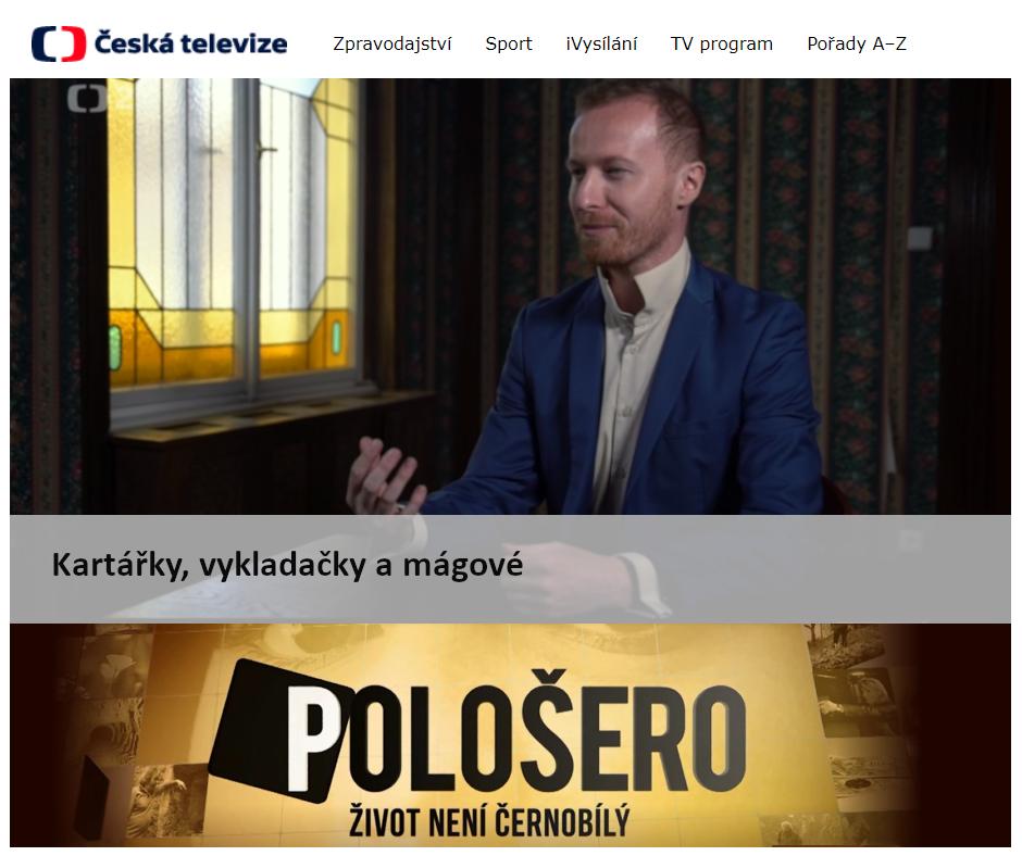 Hypnotizer Jakub Kroulik_rozhovor Ceska televize - Polosero - KArtarky vykladacky magove