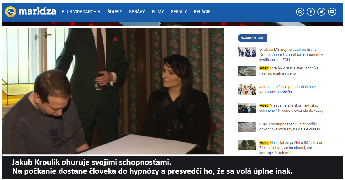 Hypnotizer Jakub Kroulik_rozhovor TV Markíza - Jakub Kroulik ohuruje svojimi schopnosťami 2