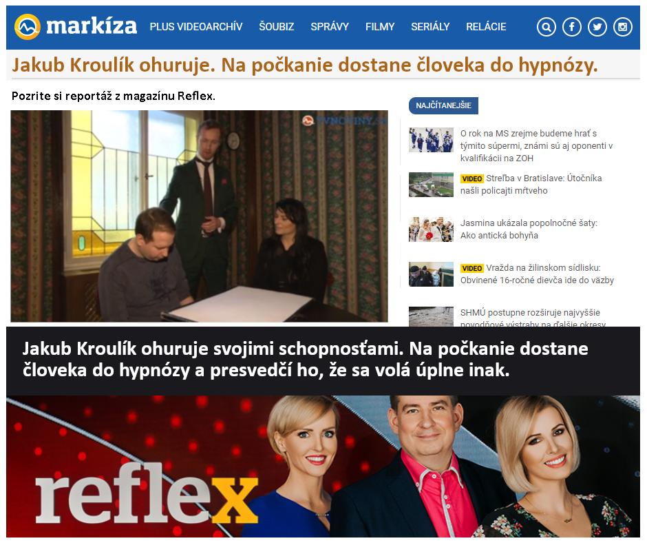 Hypnotizer Jakub Kroulik_rozhovor TV Markíza - Jakub Kroulik ohuruje svojimi schopnosťami