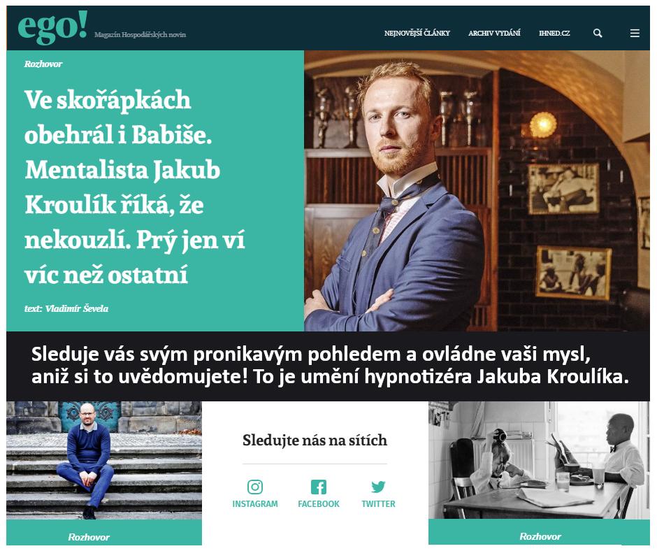 Hypnotizer-Jakub-Kroulik_rozhovor-Magazín EGO-Umění hypnotizéra