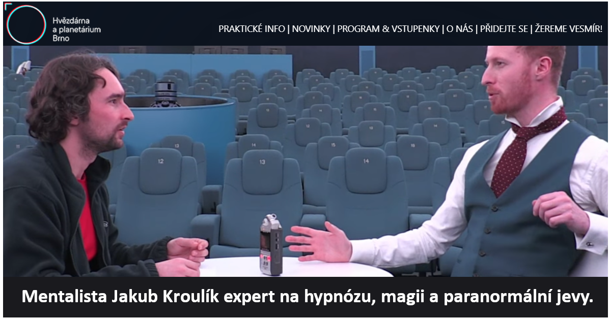 Hypnotizer Jakub Kroulik - rozhovor pro Hvezdarnu a planetarium Brno