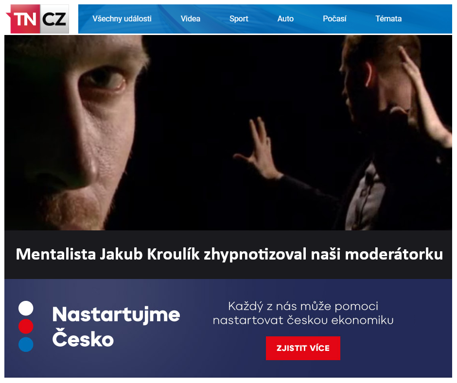 Mentalista Jakub Kroulík zhypnotizoval naši moderátorku - Magazín VÍKEND - TV Nova 2