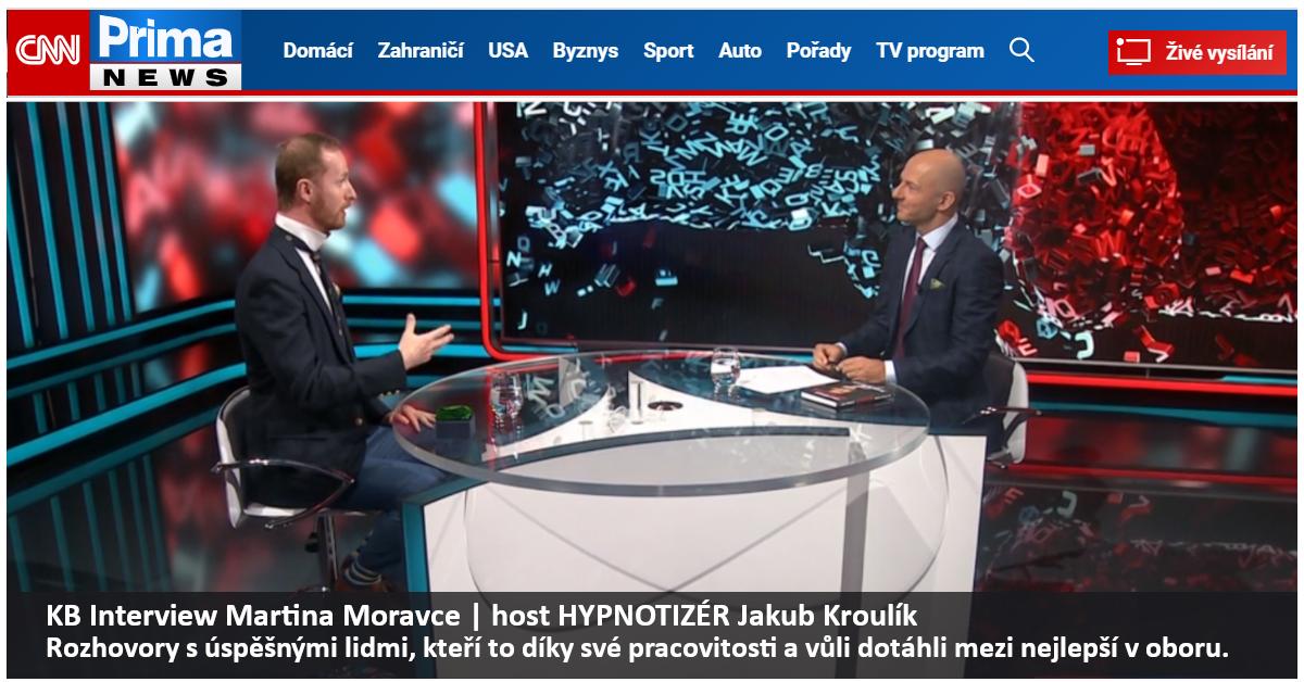 Hypnóza | KB Interview Martina Moravce | host HYPNOTIZÉR Jakub Kroulík Rozhovory s úspěšnými lidmi, kteří to díky své pracovitosti a vůli dotáhli mezi nejlepší v oboru.