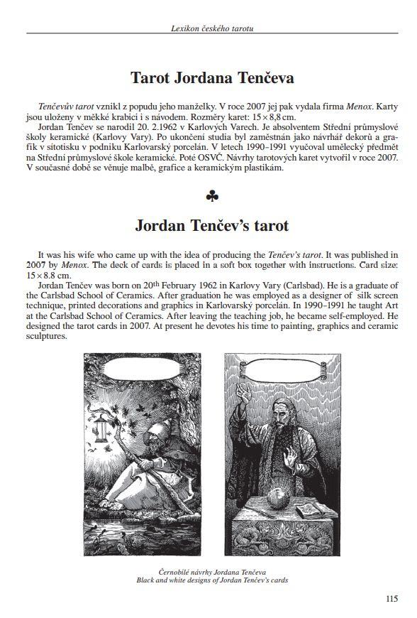Lexikon českého tarotu | ukázka z knihy | Ukázka černobílých návrhů karet Jardana Tenčeva