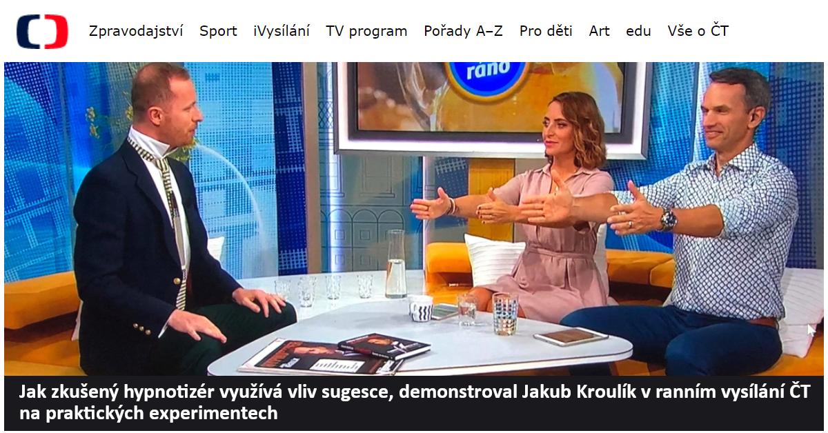Jak zkušený hypnotizér využívá vliv sugesce_Dobré ráno s Českou televizí 2