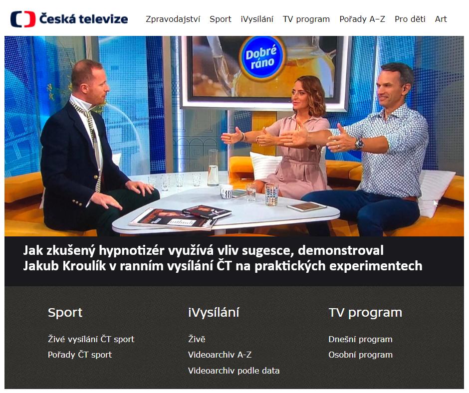 Jak zkušený hypnotizér využívá vliv sugesce - Dobré ráno s Českou televizí